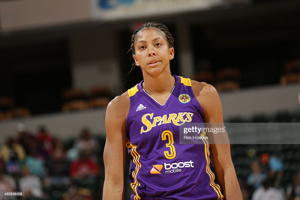 <a gi-track='captionPersonalityLinkClicked' href=/galleries/search?phrase=Candace+Parker&family=editorial&specificpeople=752955 ng-click='$event.stopPropagation()'>Candace Parker</a> #3 of the Los Angeles Sparks reacts during the game against the Indiana Fever on July 15, 2014 at Bankers Life Fieldhouse in Indianapolis, Indiana.