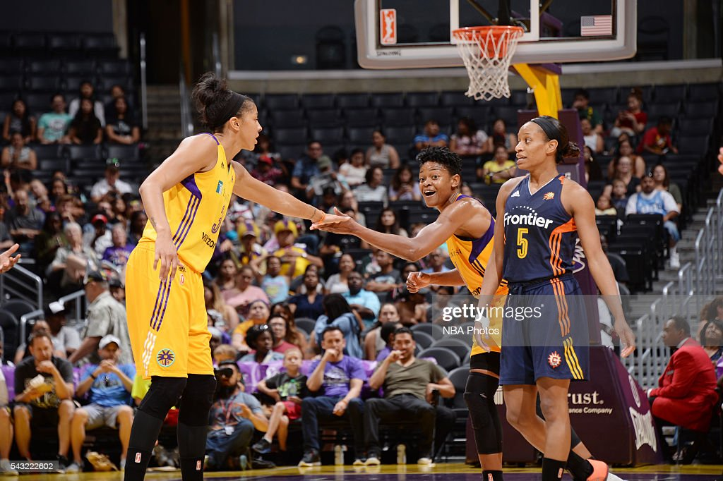<a gi-track='captionPersonalityLinkClicked' href=/galleries/search?phrase=Candace+Parker&family=editorial&specificpeople=752955 ng-click='$event.stopPropagation()'>Candace Parker</a> #3 of the Los Angeles Sparks shakes hands with <a gi-track='captionPersonalityLinkClicked' href=/galleries/search?phrase=Alana+Beard&family=editorial&specificpeople=210691 ng-click='$event.stopPropagation()'>Alana Beard</a> #0 of the Los Angeles Sparks during the game against the Connecticut Sun on June 26, 2016 at STAPLES Center in Los Angeles, California.