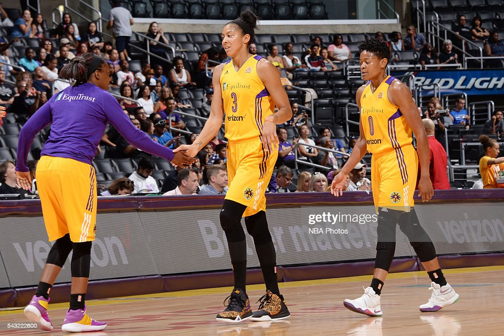 <a gi-track='captionPersonalityLinkClicked' href=/galleries/search?phrase=Candace+Parker&family=editorial&specificpeople=752955 ng-click='$event.stopPropagation()'>Candace Parker</a> #3 of the Los Angeles Sparks shakes hands with her teammates during the game against the Connecticut Sun on June 26, 2016 at STAPLES Center in Los Angeles, California.