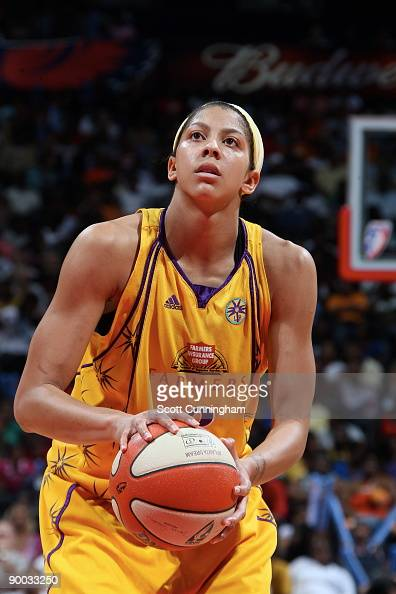 Candace Parker of the Los Angeles Sparks shoots a free throw against the Atlanta Dream at Philips Arena on August 23 2009 in Atlanta Georgia NOTE TO...