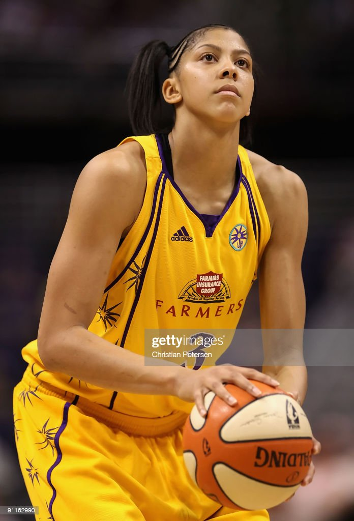 Candace Parker of the Los Angeles Sparks shoots a free throw shot against the Phoenix Mercury in Game Two of the Western Conference Finals during the...