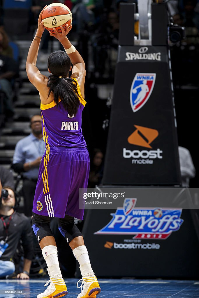Candace Parker #3 of the Los Angeles Sparks shoots a free-throw during Game One of the 2012 WNBA Western Conference Finals against the Minnesota Lynx on October 4, 2012 at Target Center in Minneapolis, Minnesota.