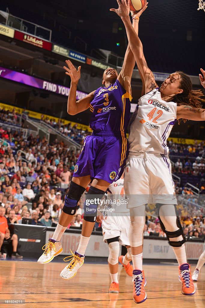 <a gi-track='captionPersonalityLinkClicked' href=/galleries/search?phrase=Candace+Parker&family=editorial&specificpeople=752955 ng-click='$event.stopPropagation()'>Candace Parker</a> #3 of the Los Angeles Sparks shoots against <a gi-track='captionPersonalityLinkClicked' href=/galleries/search?phrase=Brittney+Griner&family=editorial&specificpeople=6836945 ng-click='$event.stopPropagation()'>Brittney Griner</a> #42 of the Phoenix Mercury in Game 2 Round 1 of the 2013 WNBA Playoffs on September 13, 2013 at U.S. Airways Center in Phoenix, Arizona.
