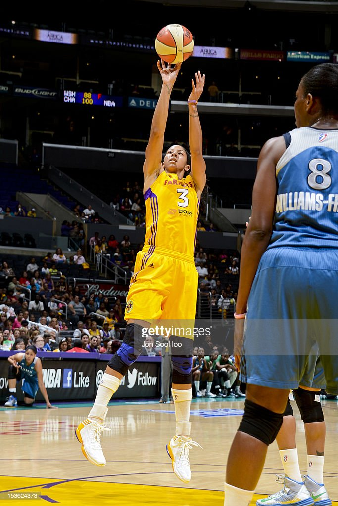 <a gi-track='captionPersonalityLinkClicked' href=/galleries/search?phrase=Candace+Parker&family=editorial&specificpeople=752955 ng-click='$event.stopPropagation()'>Candace Parker</a> #3 of the Los Angeles Sparks shoots against the Minnesota Lynx during Game Two of the WNBA Western Conference Finals at Staples Center on October 7, 2012 in Los Angeles, California.
