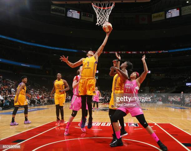 Candace Parker of the Los Angeles Sparks shoots the ball against the Washington Mystics on August 16 2017 at the Verizon Center in Washington DC NOTE...
