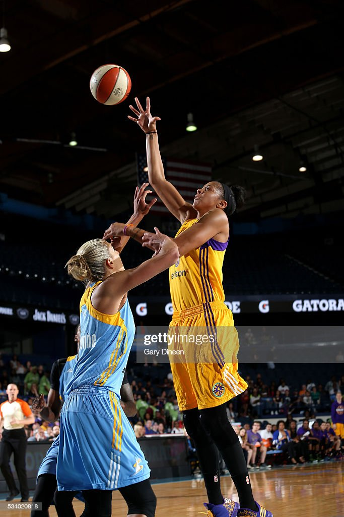 <a gi-track='captionPersonalityLinkClicked' href=/galleries/search?phrase=Candace+Parker&family=editorial&specificpeople=752955 ng-click='$event.stopPropagation()'>Candace Parker</a> #3 of the Los Angeles Sparks shoots the ball during the game against the Chicago Sky on May 24, 2016 at the Allstate Arena in Chicago, Illinois.