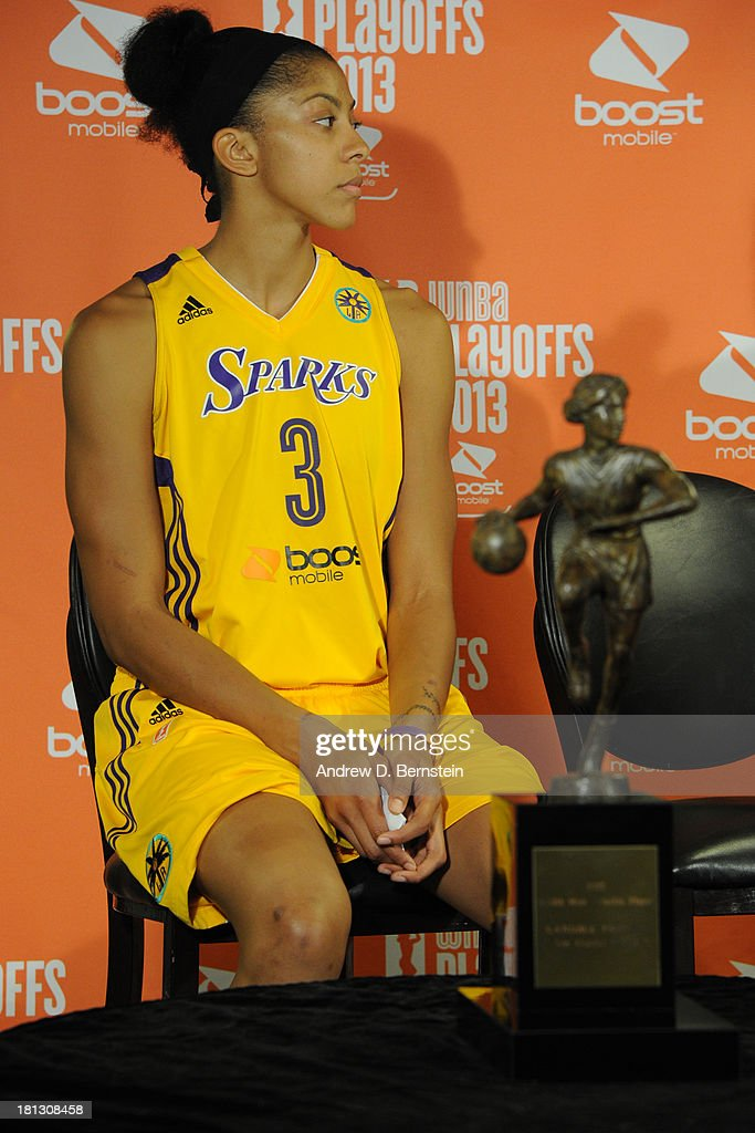 Candace Parker #3 of the Los Angeles Sparks speaks during a press conference for being awarded the WNBA's Most Valuable Player for the 2013 season at STAPLES Center on September 19, 2013 in Los Angeles, California.
