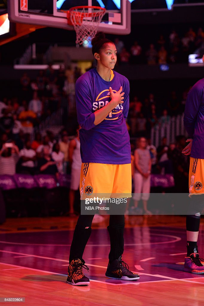 <a gi-track='captionPersonalityLinkClicked' href=/galleries/search?phrase=Candace+Parker&family=editorial&specificpeople=752955 ng-click='$event.stopPropagation()'>Candace Parker</a> #3 of the Los Angeles Sparks stands for the national anthem before the game against the Connecticut Sun on June 26, 2016 at STAPLES Center in Los Angeles, California.