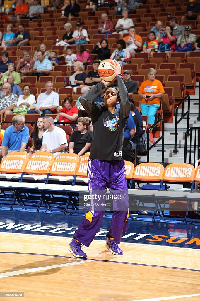 Candace Parker #3 of the Los Angeles Sparks warms up against the Connecticut Sun before a game at the Mohegan Sun Arena on July 13, 2014 in Uncasville, Connecticut.