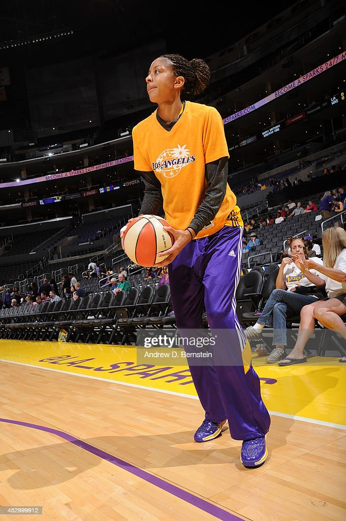 <a gi-track='captionPersonalityLinkClicked' href=/galleries/search?phrase=Candace+Parker&family=editorial&specificpeople=752955 ng-click='$event.stopPropagation()'>Candace Parker</a> #3 of the Los Angeles Sparks warms up before the game against the Washington Mystics at STAPLES Center on July 17, 2014 in Los Angeles, California.