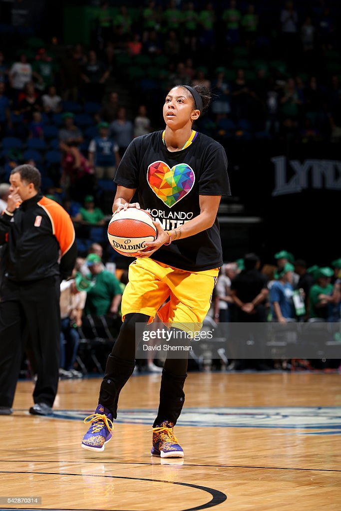 <a gi-track='captionPersonalityLinkClicked' href=/galleries/search?phrase=Candace+Parker&family=editorial&specificpeople=752955 ng-click='$event.stopPropagation()'>Candace Parker</a> #3 of the Los Angeles Sparks warms up before the game against the Minnesota Lynx during the WNBA game on June 24, 2016 at Target Center in Minneapolis, Minnesota.