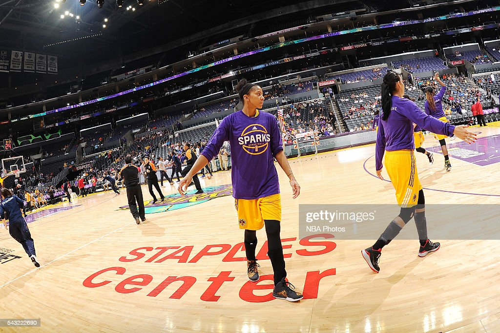 <a gi-track='captionPersonalityLinkClicked' href=/galleries/search?phrase=Candace+Parker&family=editorial&specificpeople=752955 ng-click='$event.stopPropagation()'>Candace Parker</a> #3 of the Los Angeles Sparks warms up before the game against the Connecticut Sun on June 26, 2016 at STAPLES Center in Los Angeles, California.