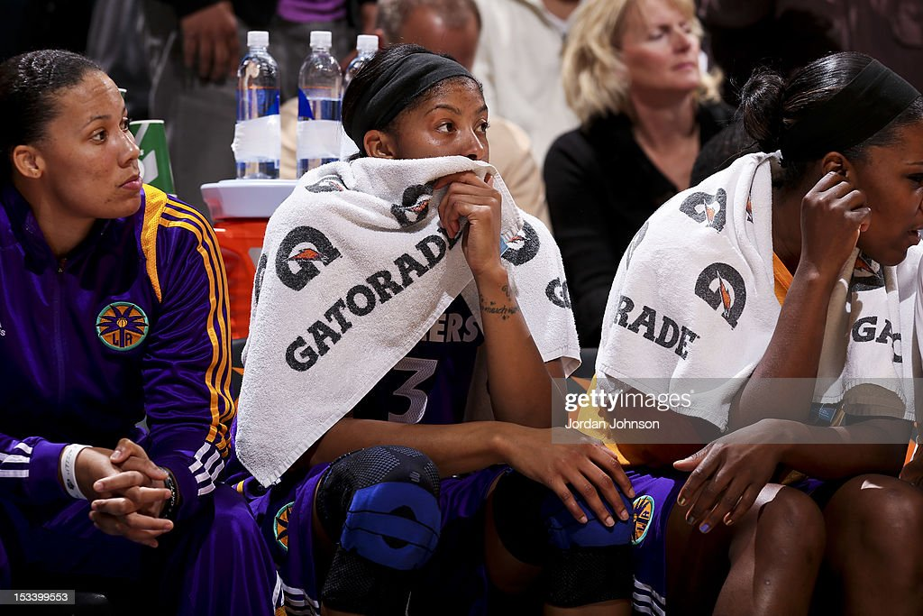 Candace Parker #3 of the Los Angeles Sparks watches from the sideline as her teammates play the Minnesota Lynx during Game One of the 2012 WNBA Western Conference Finals on October 4, 2012 at Target Center in Minneapolis, Minnesota.
