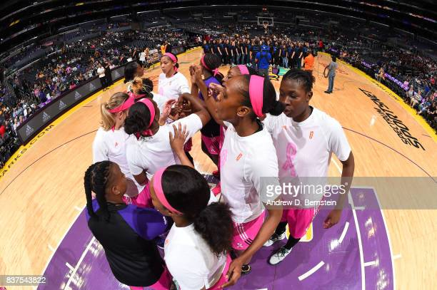 Candace Parker of the Los Angeles Sparks with teammates huddle before the game against the San Antonio Stars on August 22 2017 at the STAPLES Center...