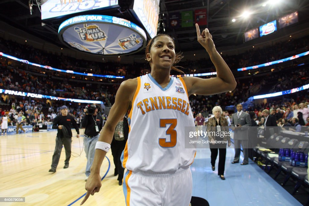 Candace Parker (3) of the University of Tennessee celebrates the Volunteers victory over the University of North Carolina during the NCAA Women's Final Four at Quicken Loans Arena in Cleveland, OH. Tennessee defeated North Carolina 56-50 to advance to the national title game. Jamie Schwaberow/NCAA Photos via Getty Images