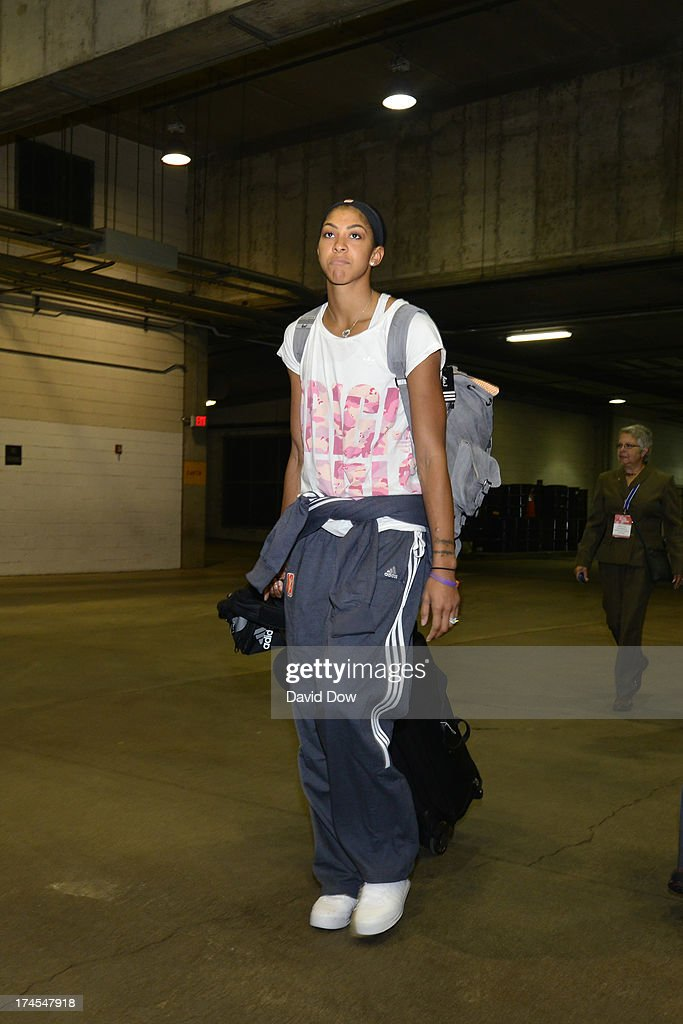 Candace Parker of the Western Conference All-Stars arrives at the 2013 Boost Mobile WNBA All-Star Game on July 27, 2013 at Mohegan Sun Arena in Uncasville, Connecticut.