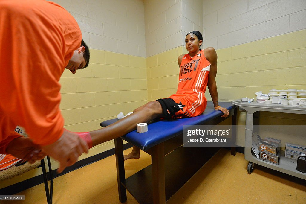 Candace Parker of the Western Conference All-Stars gets taped before the 2013 Boost Mobile WNBA All-Star Game on July 27, 2013 at Mohegan Sun Arena in Uncasville, Connecticut.
