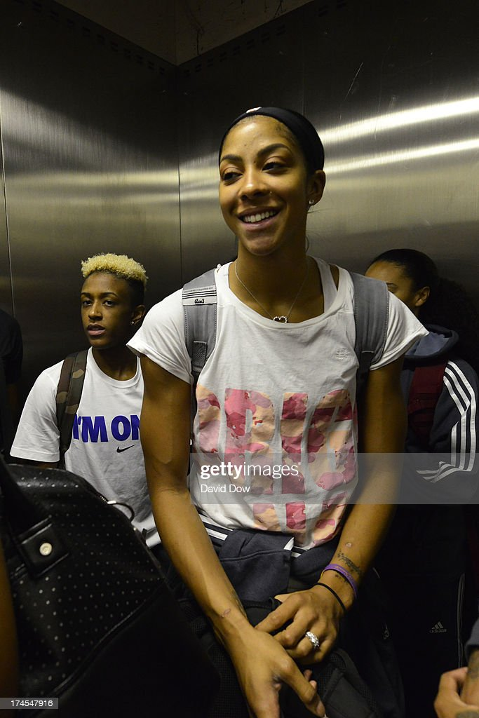 Candace Parker of the Western Conference All-Stars smiles prior to the 2013 Boost Mobile WNBA All-Star Game on July 27, 2013 at Mohegan Sun Arena in Uncasville, Connecticut.