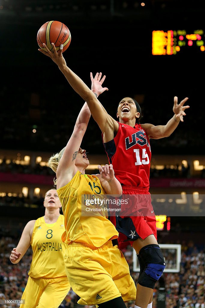 <a gi-track='captionPersonalityLinkClicked' href=/galleries/search?phrase=Candace+Parker&family=editorial&specificpeople=752955 ng-click='$event.stopPropagation()'>Candace Parker</a> #15 of United States drives for a shot attempt against <a gi-track='captionPersonalityLinkClicked' href=/galleries/search?phrase=Lauren+Jackson&family=editorial&specificpeople=201699 ng-click='$event.stopPropagation()'>Lauren Jackson</a> #15 of Australia during the Women's Basketball semifinal on Day 13 of the London 2012 Olympics Games at North Greenwich Arena on August 9, 2012 in London, England.