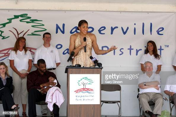 Candace Parker speaks at a ceremony dedicating the SpringField Park's renovated basketball court in her honor on July 30 2009 at SpringField Park in...