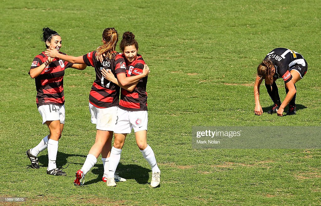 Candace Sciberras of the Wanderers celebrates with team mates after scoring during the round six W-League match between the Western Sydney Wanderers and the Newcastle Jets at Campbelltown Sports Stadium on November 25, 2012 in Sydney, Australia.