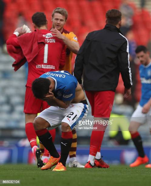 Candeias of Rangers reacts at full time during the Betfred League Cup Semi Final between Rangers and Motherwell at Hampden Park on October 22 2017 in...