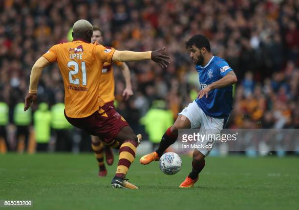 Candeias of Rangers vies with Cedric Kipre of Motherwell during the Betfred League Cup Semi Final between Rangers and Motherwell at Hampden Park on...