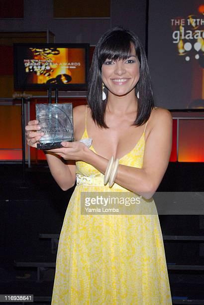 Candela Ferro accepting the Outstanding Novela award on behalf of Telemundo 51