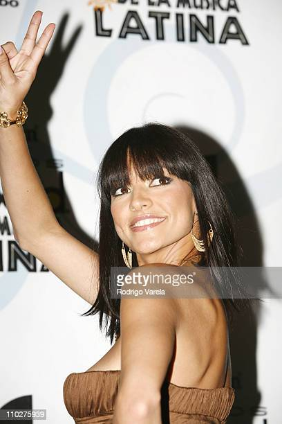Candela Ferro during 2006 Billboard Latin Music Conference and Awards Press Room at Seminole Hard Rock Hotel and Casino in Hollywood Florida United...