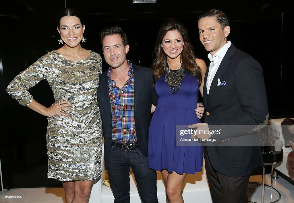 Candela Ferro, Roger Borges, Pamela Silva Conde and Rodner Figueroa attend the grand opening of Rosa Clara store on March 22, 2013 in Coral Gables, Florida.