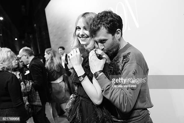 Candela Novembre and Carlo Mazzoni attend The Fashionable Lampoon cocktail and dinner for The DOT Circle in via Bagutta on April 16 2016 in Milan...