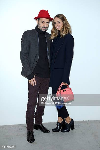 Candela Novembre and Fabio Novembre attend the Costume National Homme show as a part of Milan Fashion Week Menswear Autumn/Winter 2014 on January 11...
