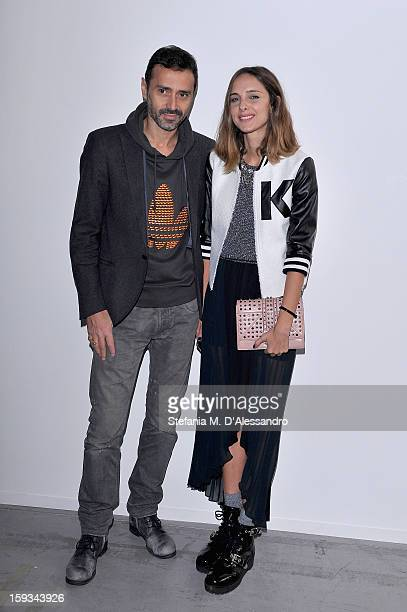 Candela Novembre and Fabio Novembre attend the Costume National Hommes show as part of Milan Fashion Week Menswear Autumn/Winter 2013 on January 12...