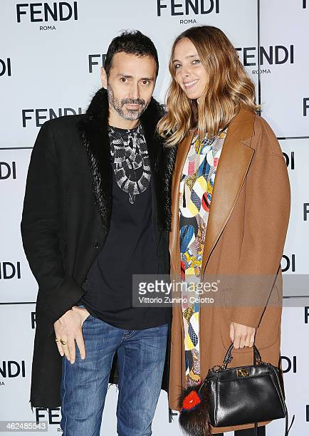 Candela Novembre and Fabio Novembre attends the Fendi show as a part of Milan Fashion Week Menswear Autumn/Winter 2014 on January 13 2014 in Milan...