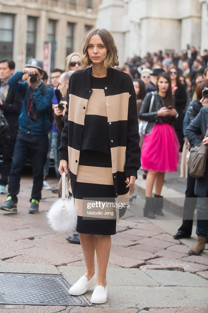 Candela Novembre attends the Salvatore Ferragamo show in Ferragamo on Day 5 of Milan Fashion Week FW15 on March 1 2015 in Milan Italy