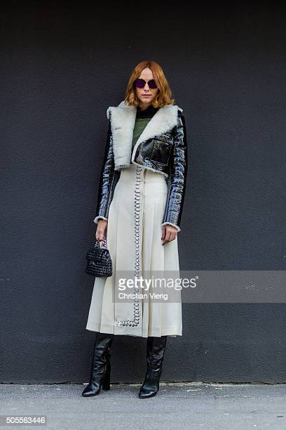 Candela Novembre outside Etro during Milan Men's Fashion Week Fall/Winter 2016/17 on January 18 in Milan Italy