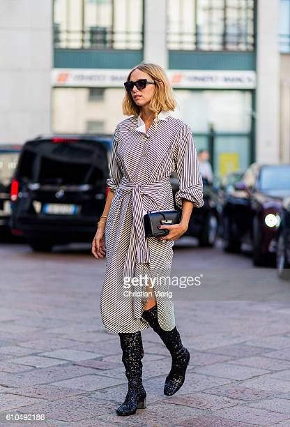 Candela Novembre outside Ferragamo during Milan Fashion Week Spring/Summer 2017 on September 25 2016 in Milan Italy