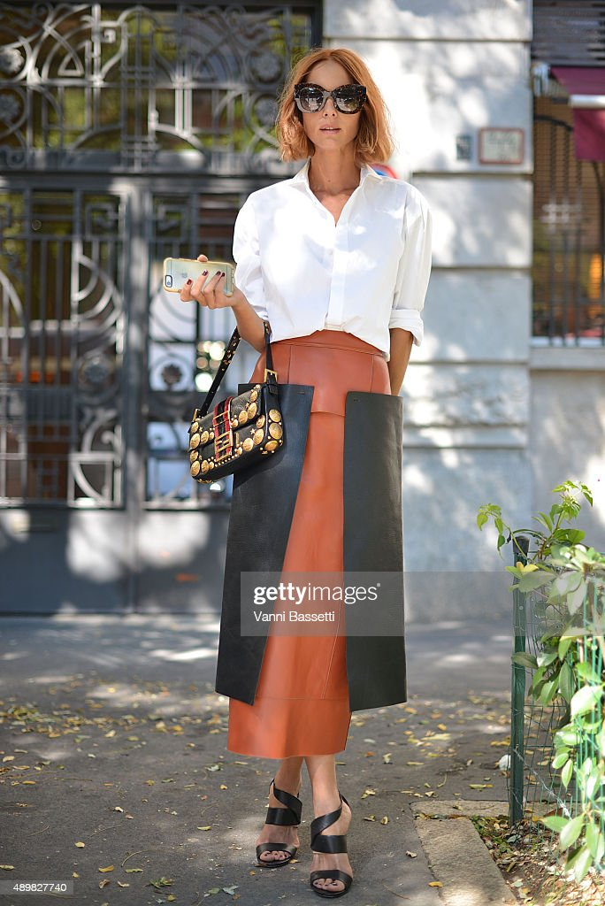 Candela Novembre poses wearing a Fendi total look after the Fendi show during the Milan Fashion Week Spring/Summer 16 on September 24 2015 in Milan...
