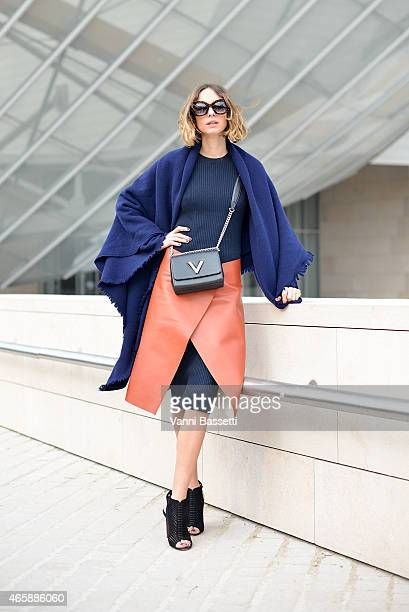 Candela Novembre poses wearing a Loewe blanket Jil Sander skirt and Louis Vuitton bag on Day 9 of Paris Fashion Week Womenswear FW15 on March 11 2015...