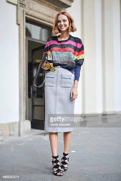 Candela Novembre poses wearing a Marco de Vincenzo top and skirt before the Philosophy show during the Milan Fashion Week Spring/Summer 16 on...