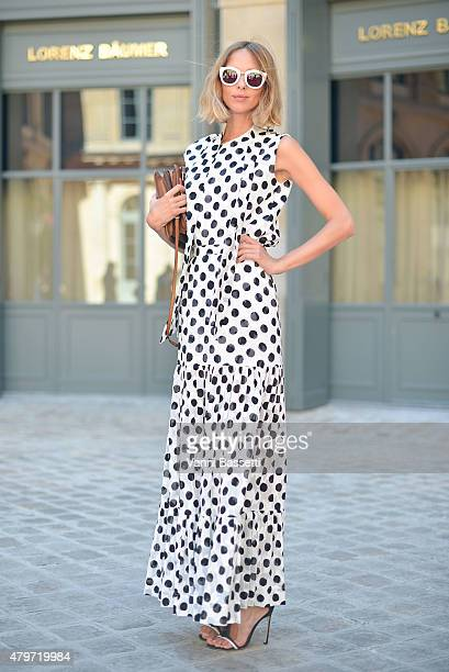 Candela Novembre poses wearing an Antonio Marras dress before the Schiapparelli show at Place Vendome on July 6 2015 in Paris France