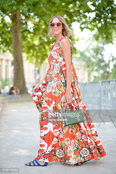 Candela Novembre poses wearing an Antonio Marras dress before the Chanel show at the Grand Palais on July 7 2015 in Paris France