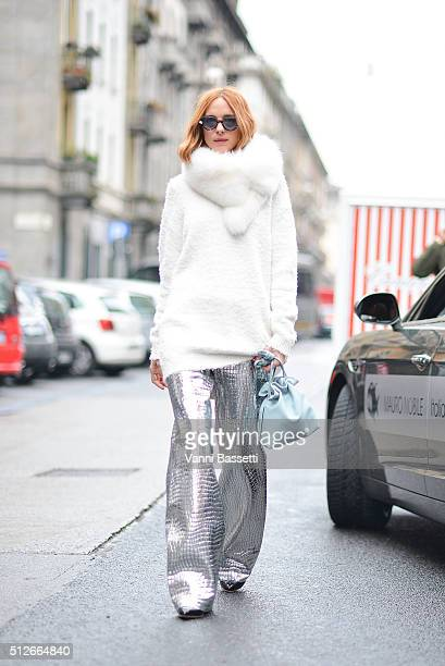 Candela Novembre poses wearing Loewe pants and bag and Blumarine jumper before the Antonio Marras show during the Milan Fashion Week Fall/Winter...