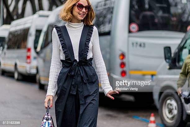 Candela Novembre seen outside Giorgio Armani during Milan Fashion Week Fall/Winter 2016/17 on February 29 in Milan Italy