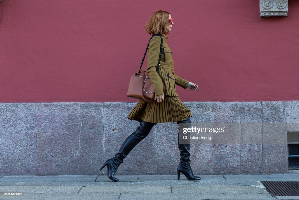 Candela Novembre wearing Marco de Vincenzo and Stuart Weitzman boots outside Missoni during Milan Men's Fashion Week Fall/Winter 2016/17 on January...
