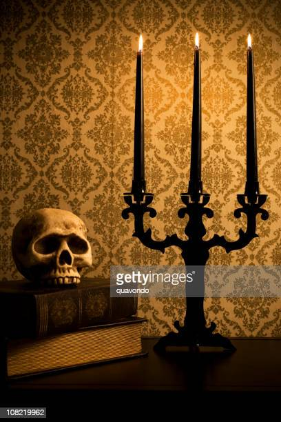 Candelabra with Skull and Old Books, Spooky Halloween Photo