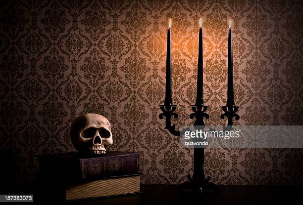 Candelabra with Spooky Halloween Skull, Candlelight, Copy Space