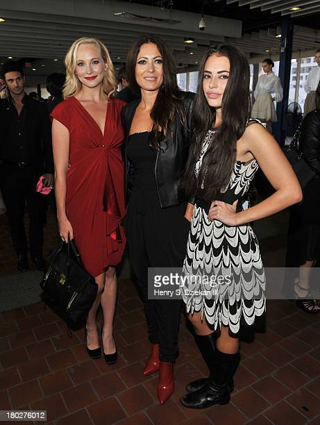 Candice Accola designer Catherine Malandrino and Chloe Bridges attend the Catherine Malandrino presentation during Spring 2014 MercedesBenz Fashion...