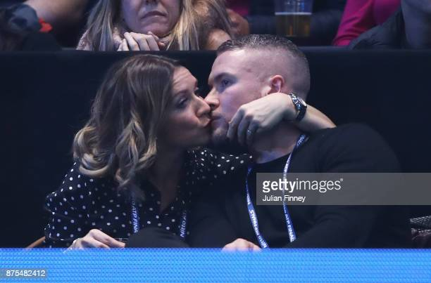 Candice Brown kisses Liam Macaulay during the match between Grigor Dimitrov of Bulgaria and Pablo Carreno Busta of Spain during day six of the Nitto...