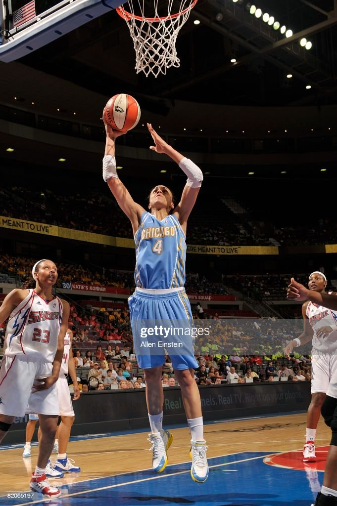 Candice Dupree of the Chicago Sky goes to the basket against Plenette Pierson of the Detroit Shock during the WNBA game on July 16 2008 at The Palace...